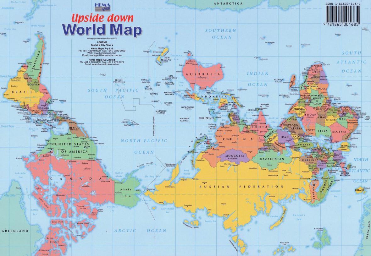 Obrácená mapa světa - jih je nahoře