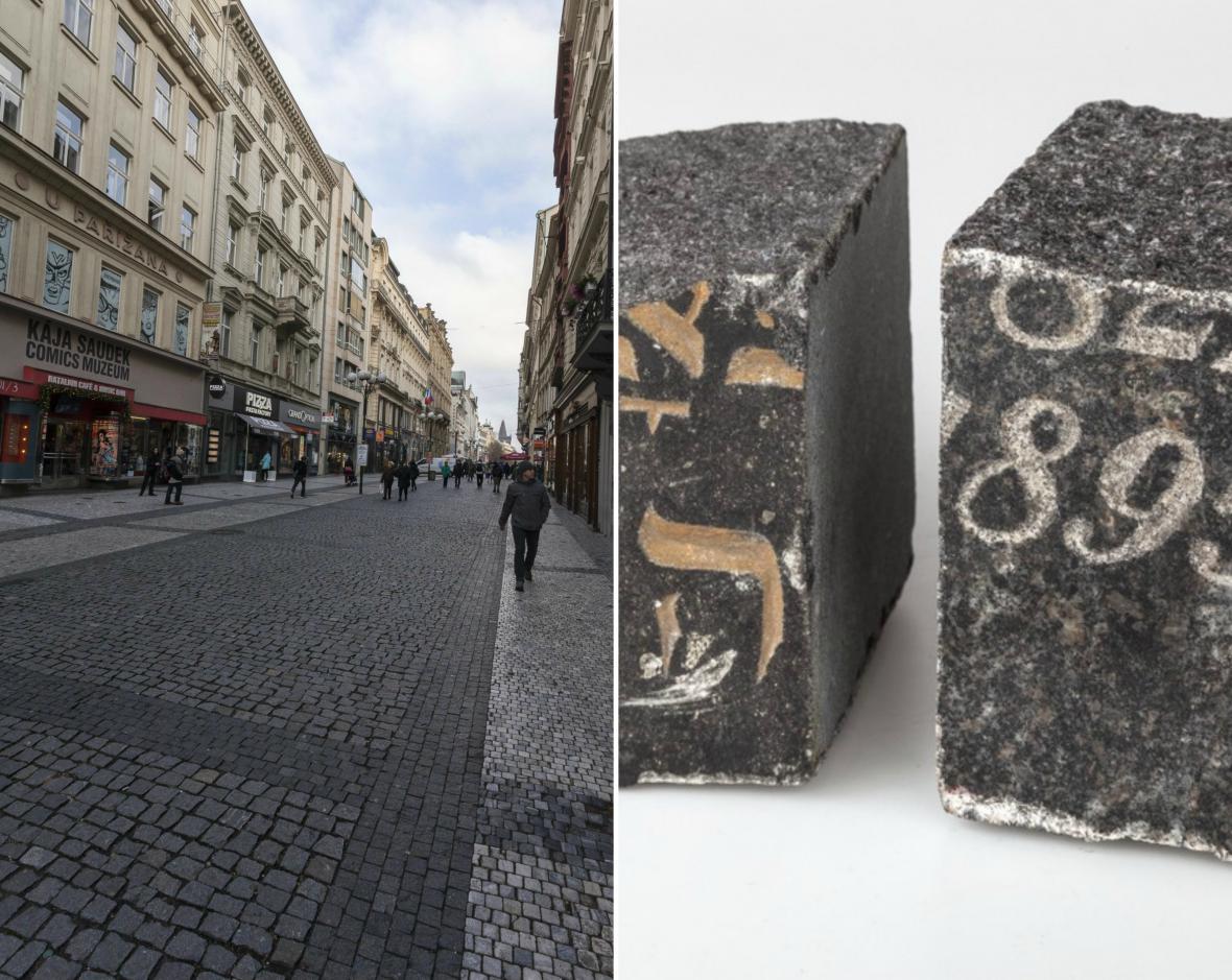 Dlažební kostky vyrobené z židovských náhrobků byly využity při budování pěší zóny na Praze 1