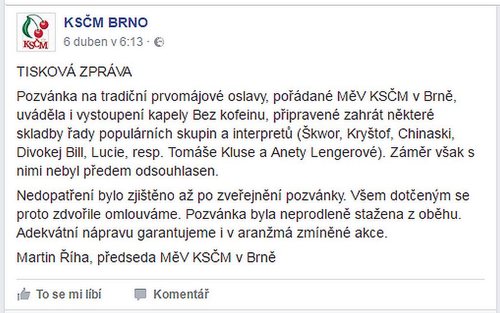 Vyjádření brněnské KSČM na Facebooku