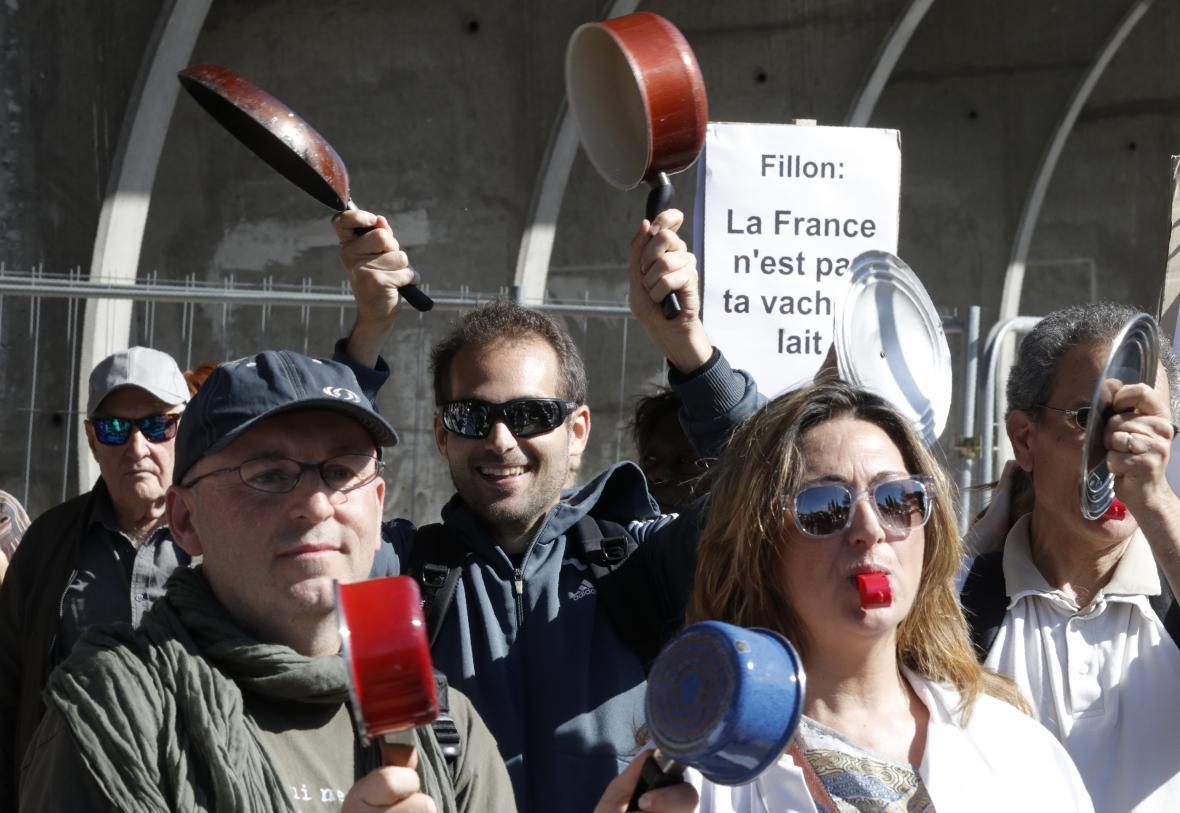 Protest proti Fillonovi v Nice