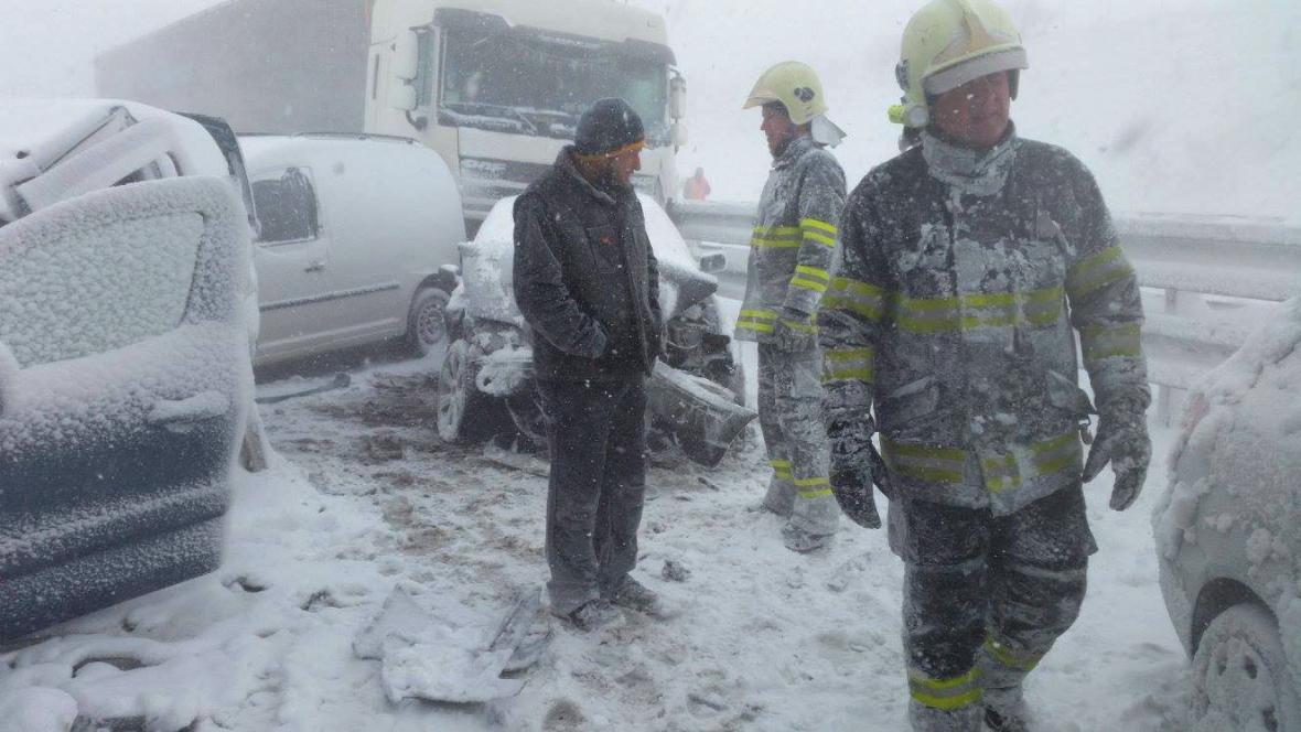 Řetězová nehoda na Slovensku