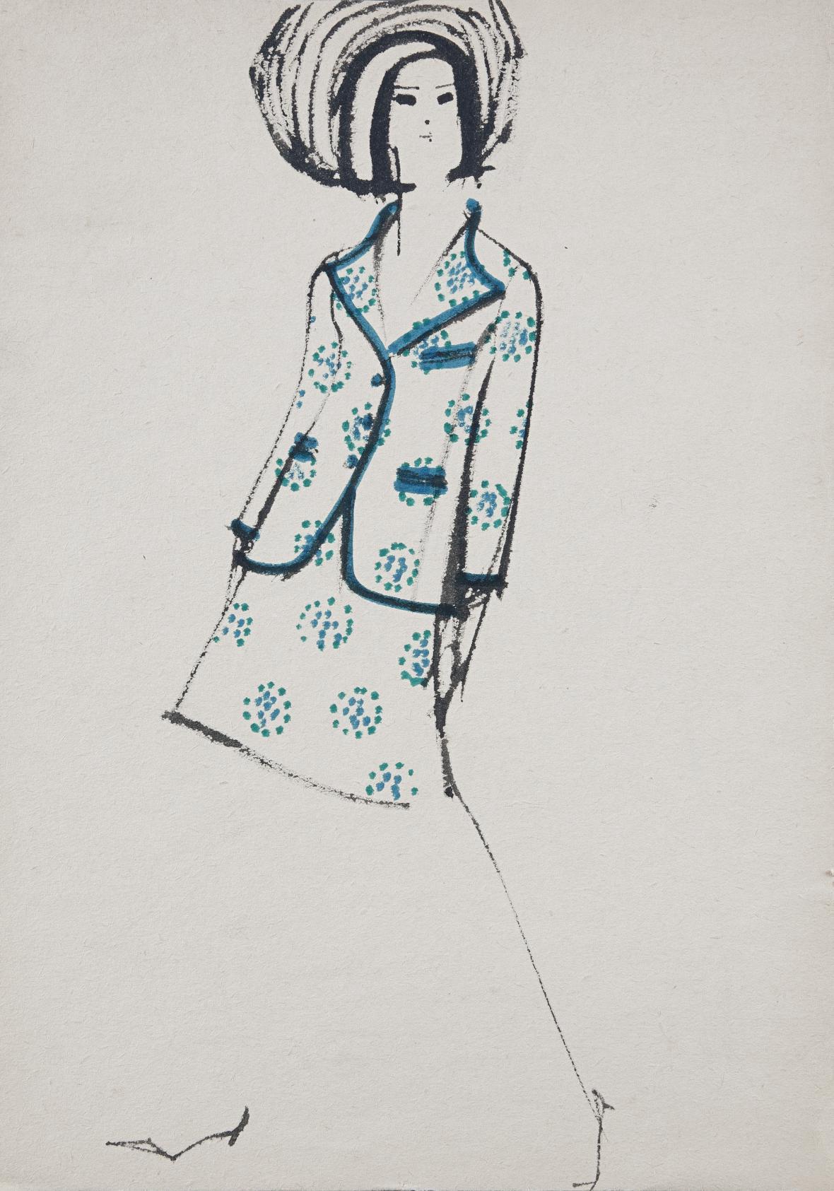 Vlasta Hegerová: Módní kresba. Vývojový ateliér časopisu Naša móda, 1967