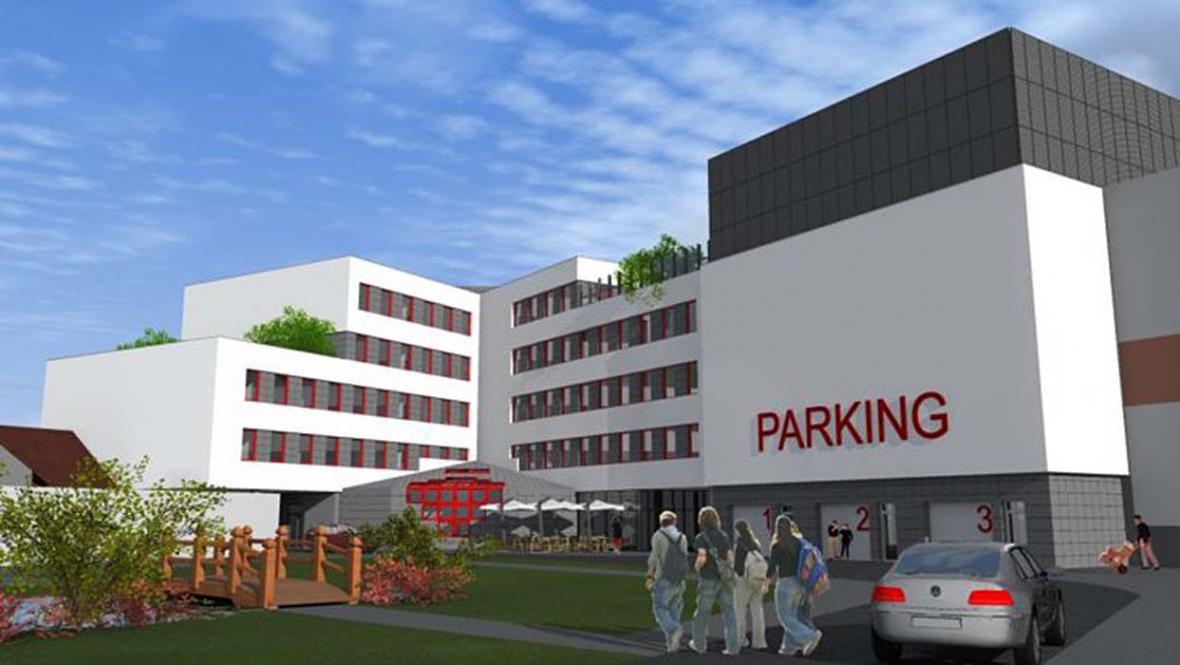 Předpokládaná podoba nové radnice včetně parkovacích míst