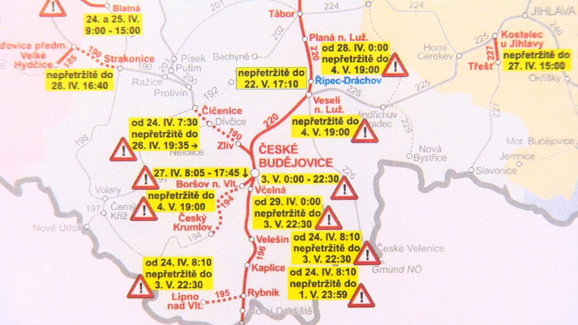 Výluka vlaků v jižních Čechách