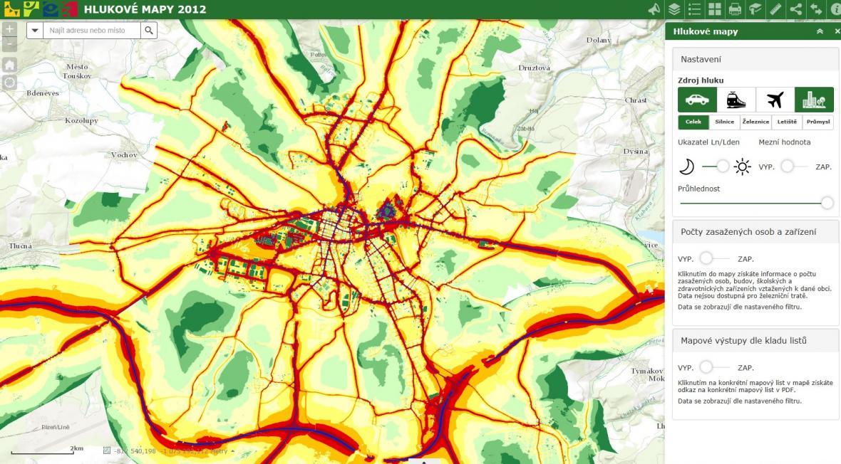 Hluková mapa Plzně