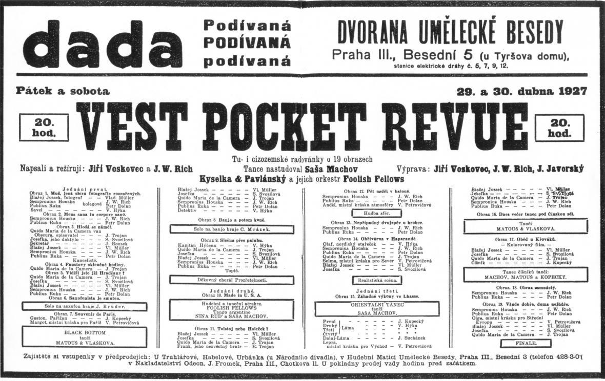 Faksimile plakátu na první uvedení slavné Vest Posket Revue v Umělecké besedě v dubnu 1927