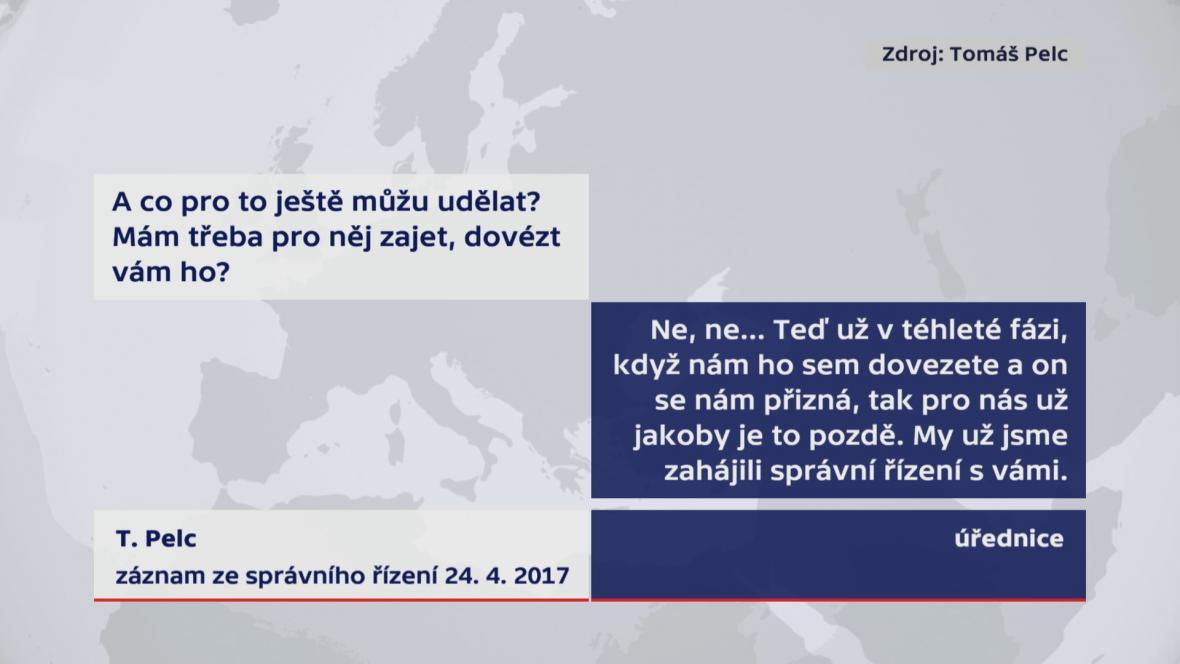Záznam ze správního řízení konaného 24. 4. 2017