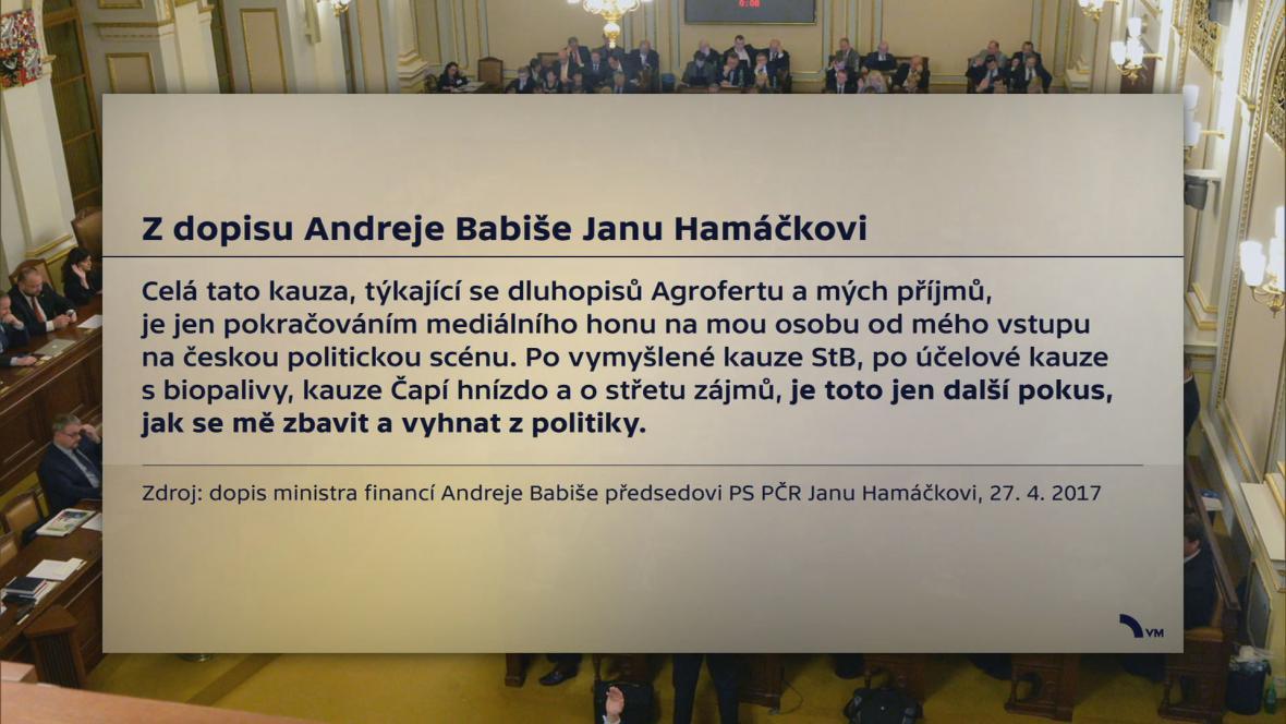 Citace z dopisu Andreje Babiše