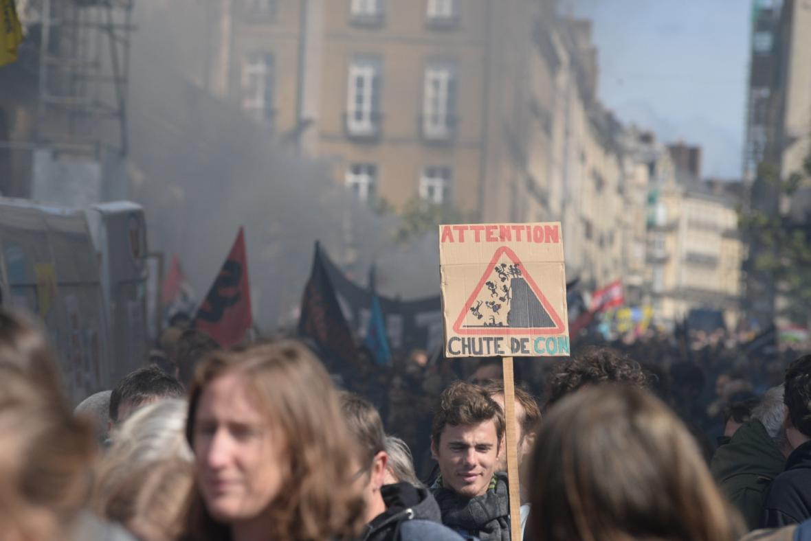 Prvomájový protest v Rennes