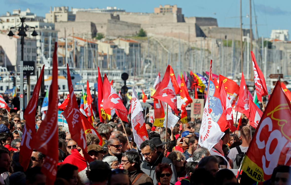 Prvomájový protest v Marseille
