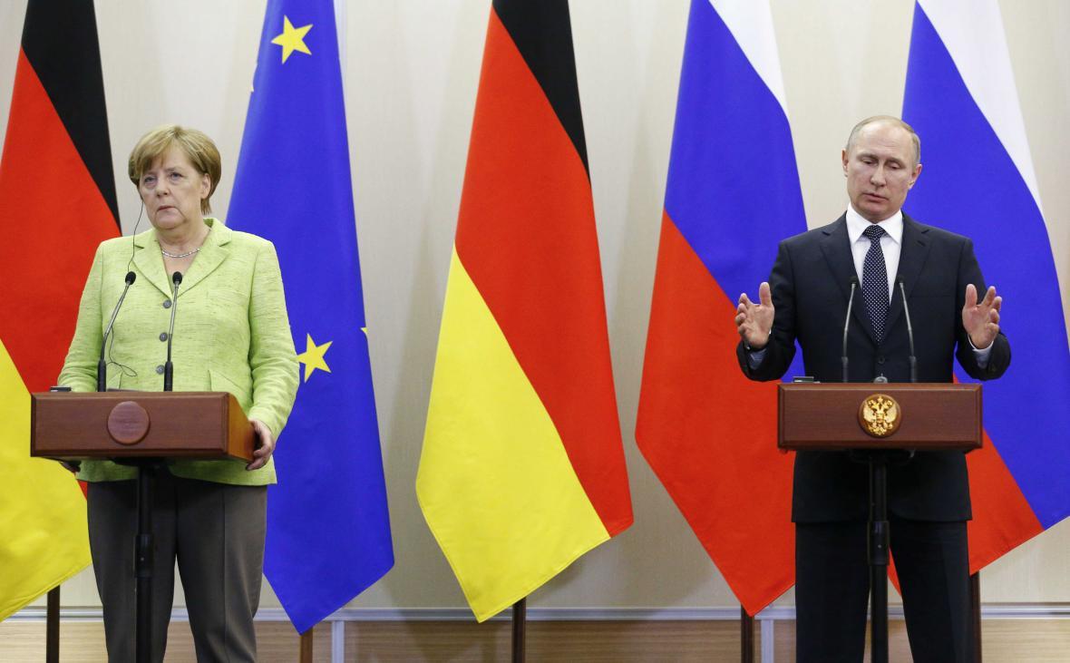 Angela Merkelová s Vladimirem Putinem