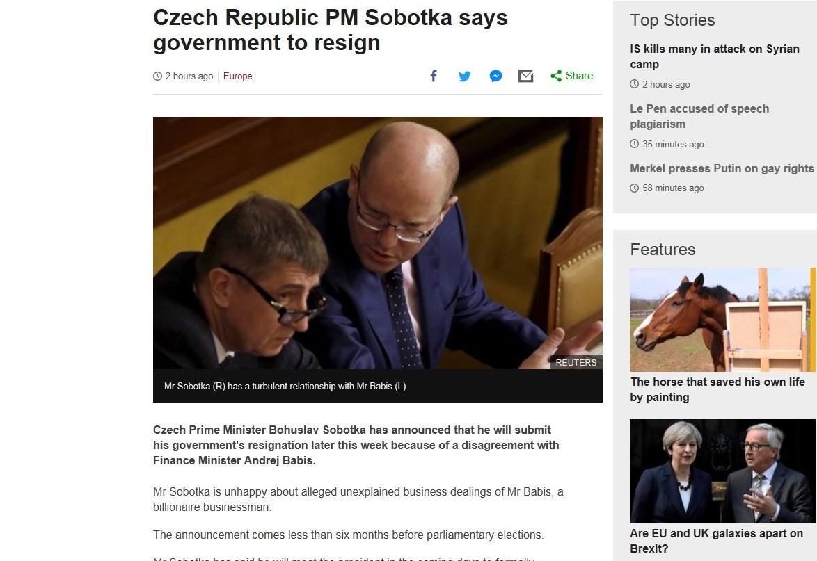 Server BBC News píše o české vládní krizi