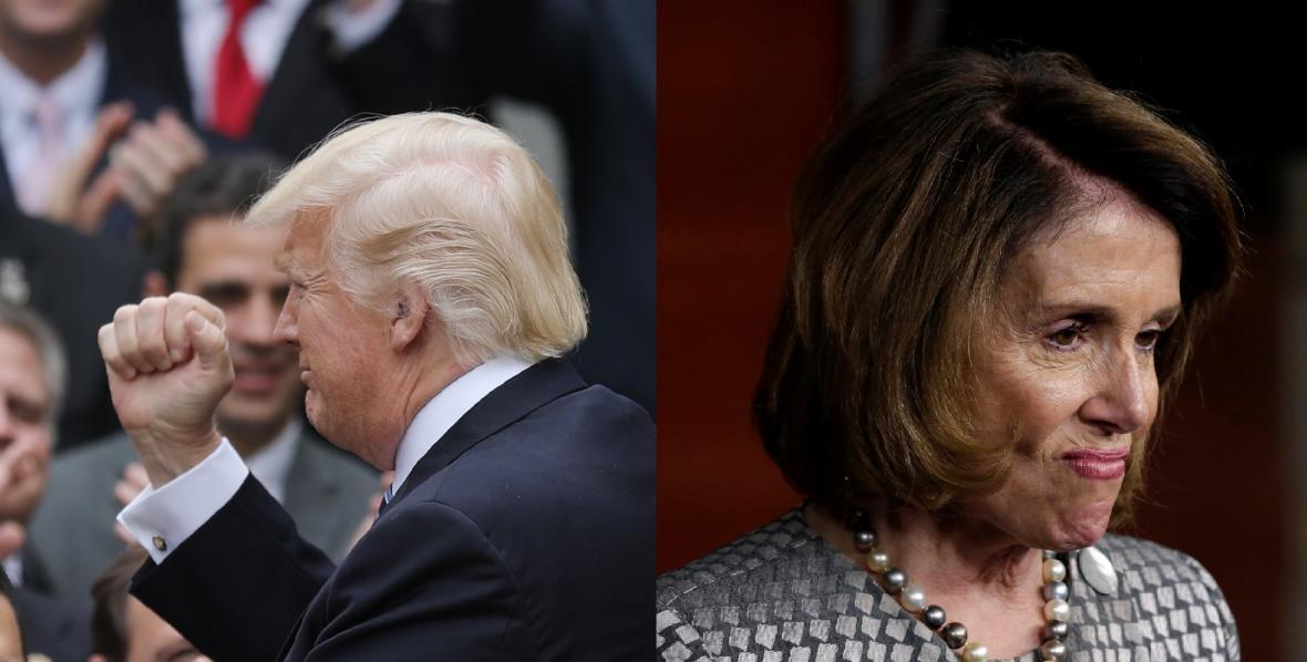 Donald Trump a Nancy Pelosiová. Radost i smutek nad hlasováním v dolní komoře