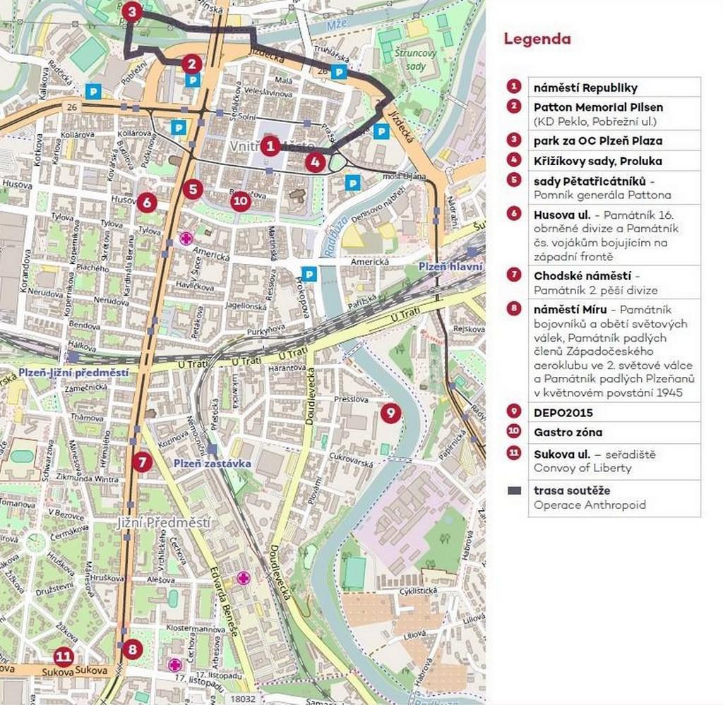 Plánek Slavností svobody v Plzni