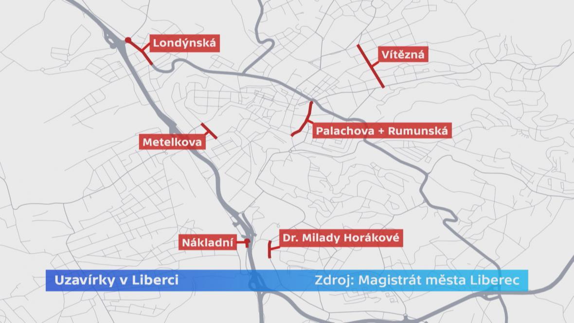 Uzavírky v Liberci