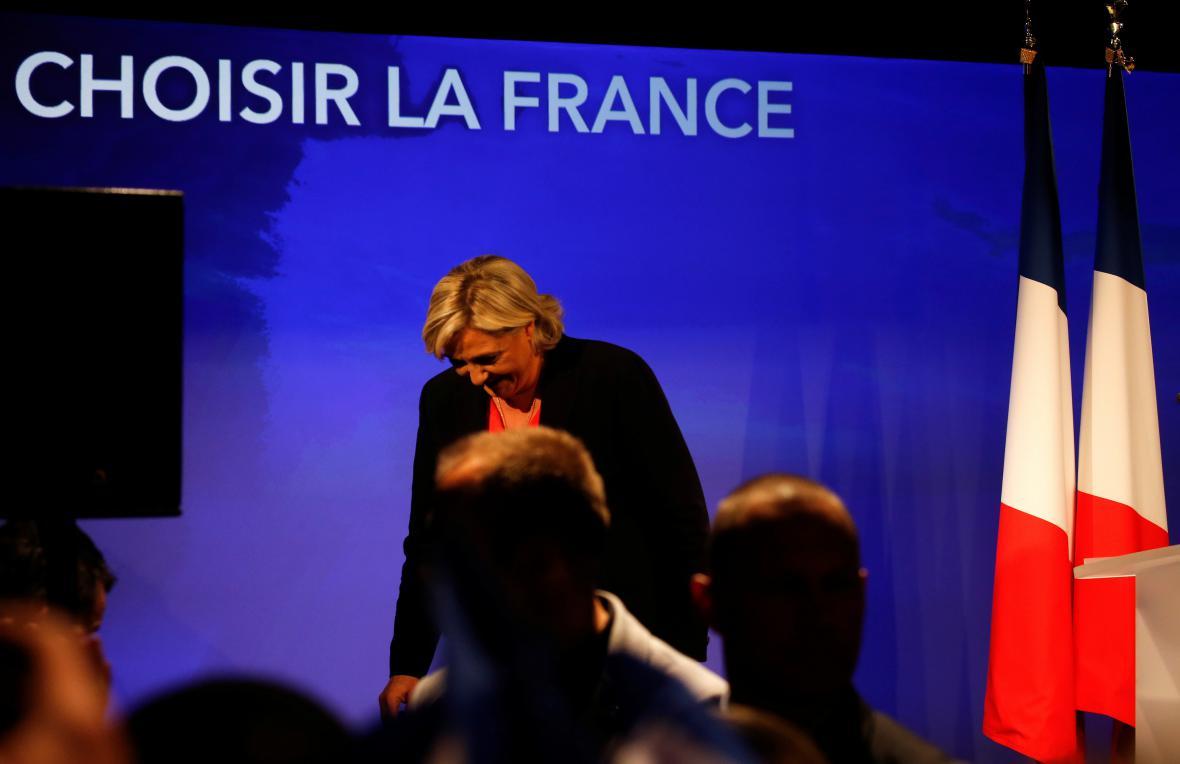 Zklamání Marine Le Penové po oznámení výsledků
