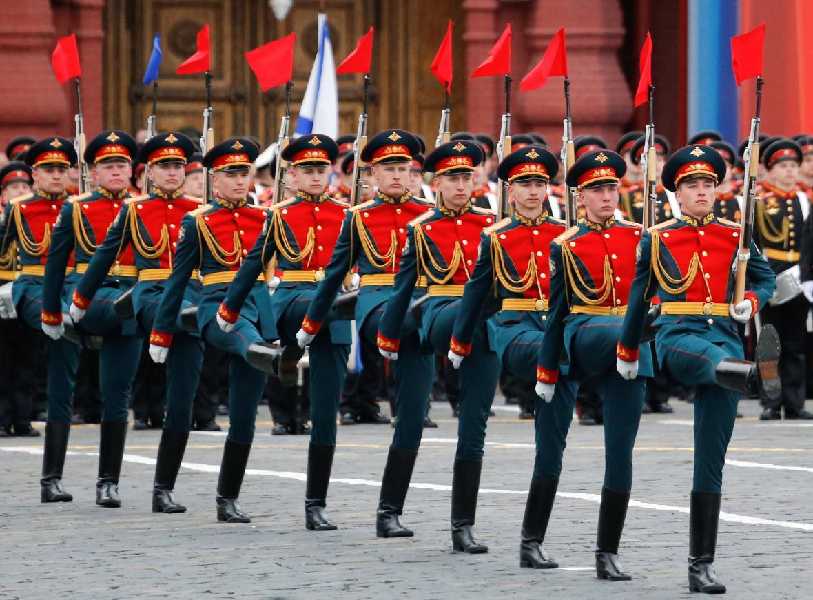 Vojenská přehlídka při oslavách Dne vítězství v Moskvě
