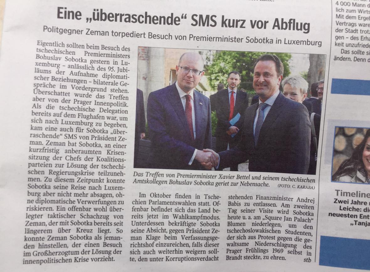 Lucemburský list WORT o Sobotkově návštěvě na pozadí vládní krize