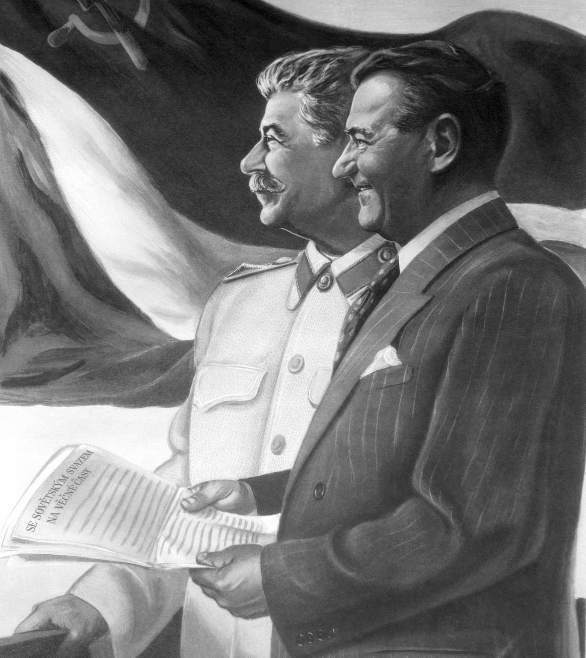 Josif Stalin a Klement Gottwald na dobovém plakátě