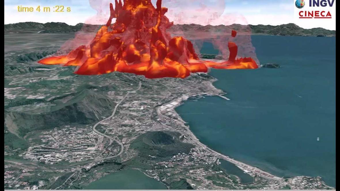 Simulace erupce Campi Flegrei