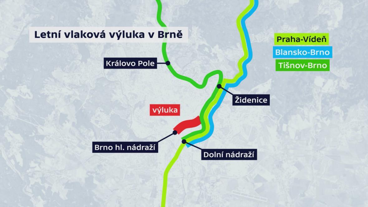 Letní vlaková výluka v Brně