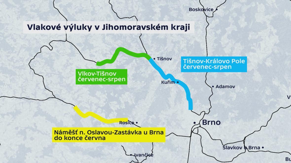 Vlakové výluky v Jihomoravském kraji