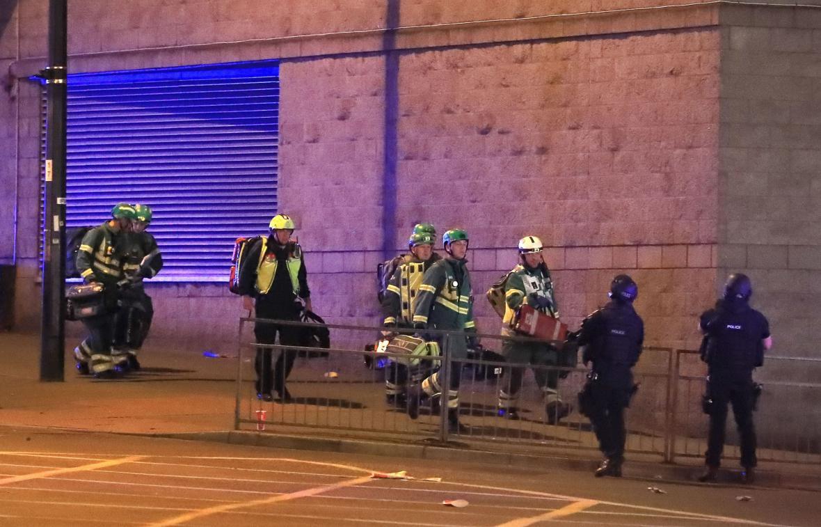 Policie u haly v Manchesteru