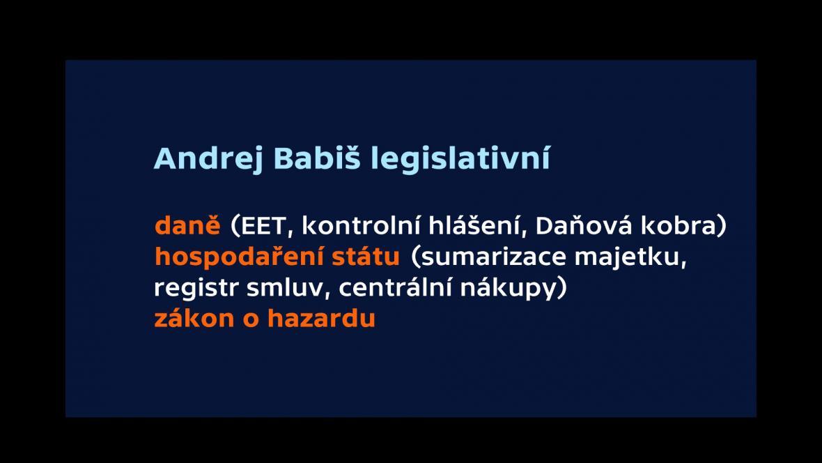 Babiš - legislativní návrhy
