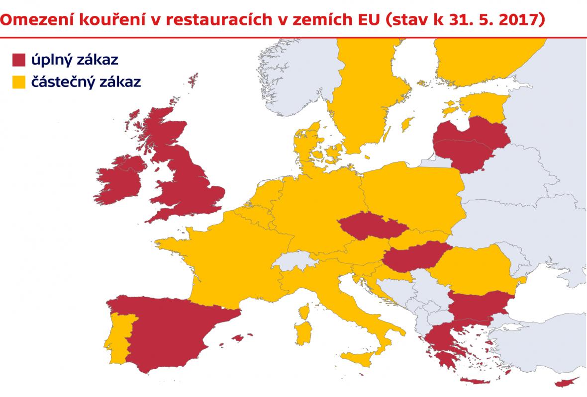 Omezení kouření v restauracích v zemích EU (stav k 31. 5. 2017)