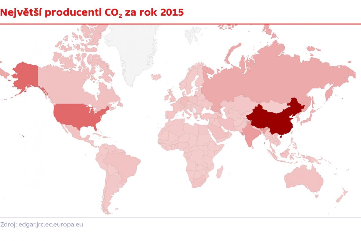Největší producenti CO2 v roce 2015