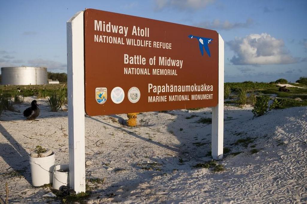 Památník na atolu Midway