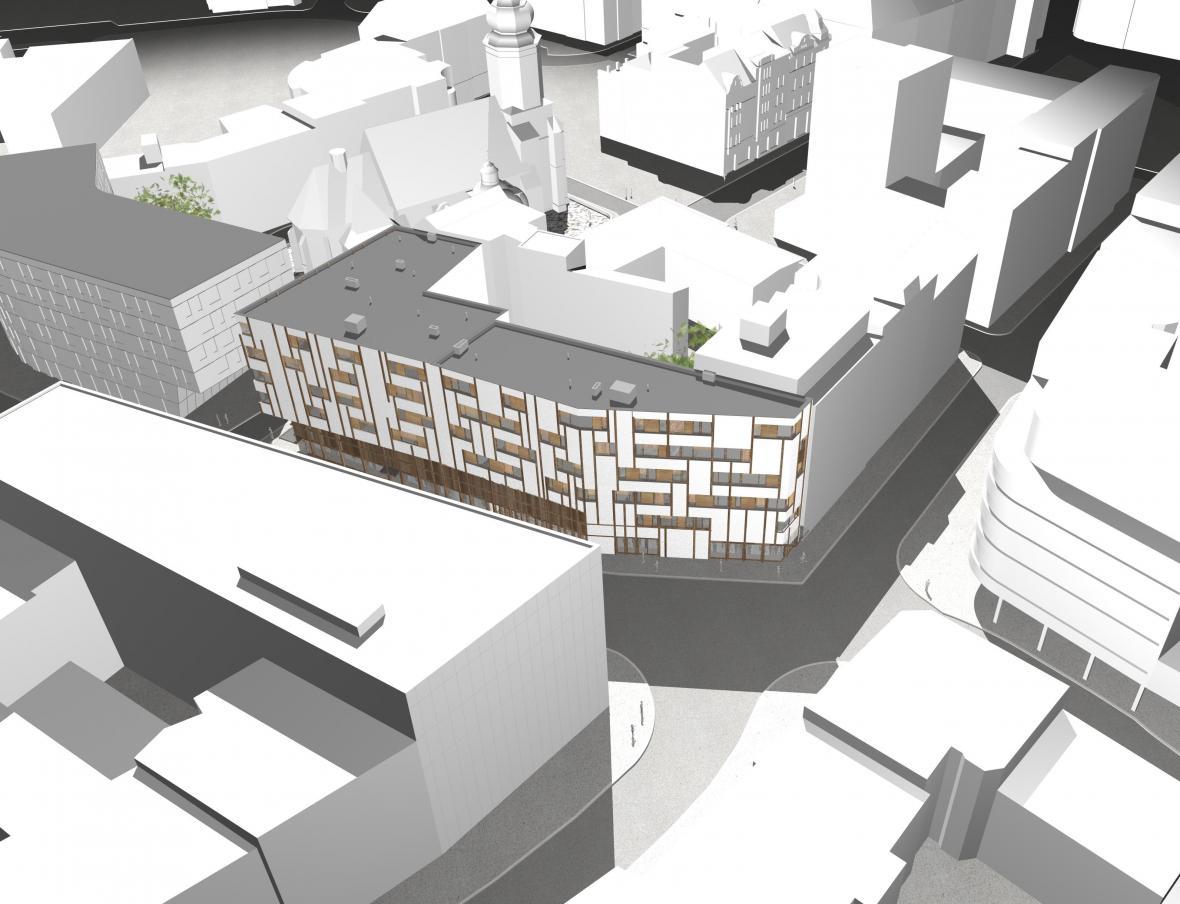 Architektonická vizualizace proluky v Biskupské ulici
