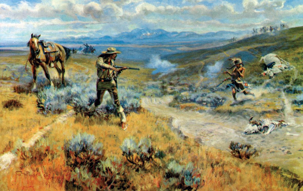 Codyho souboj se Žlutou rukou na obraze malíře  Charlese M. Russella (1864–1926)