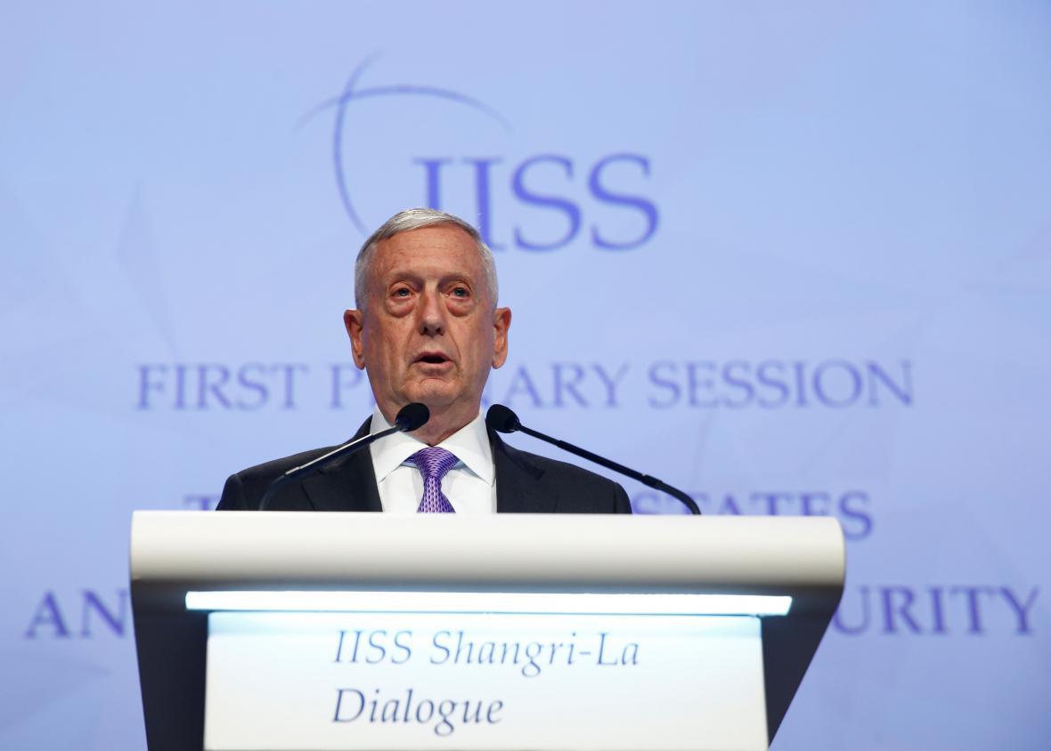 James Mattis byl jedním z hlavních řečníků konference v Singapuru
