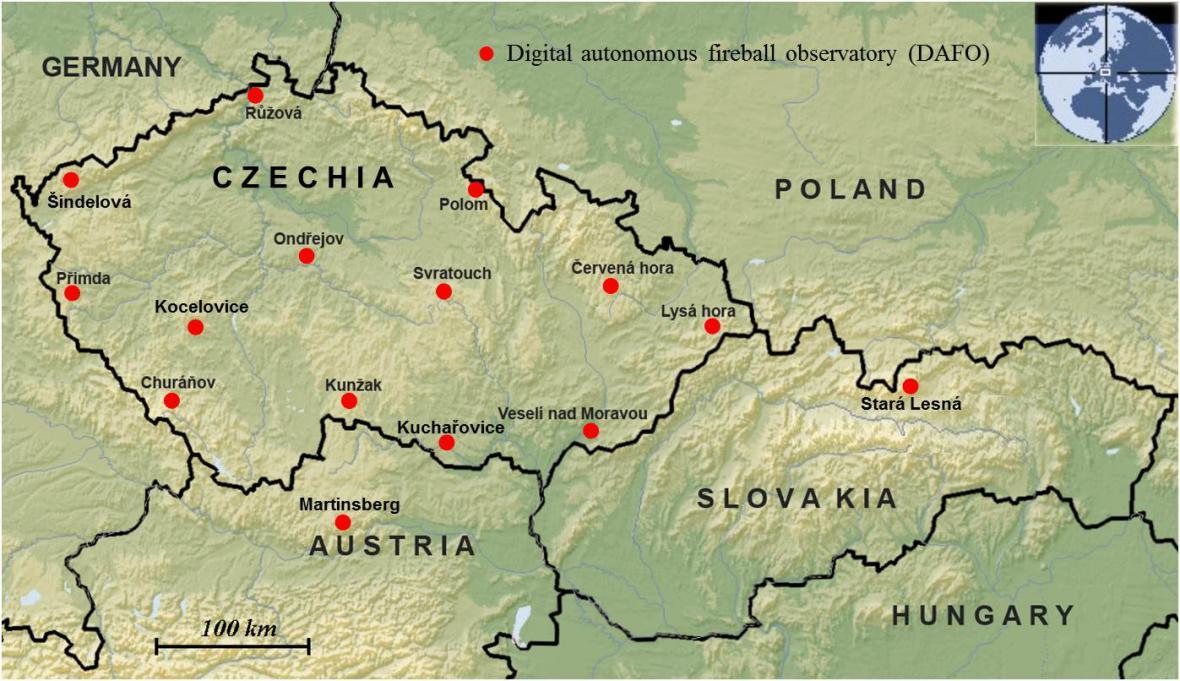 . Stanice Evropské bolidové sítě v České republice, Rakousku a Slovensku, kde jsou umístěny automatické bolidové kamery, které zaznamenaly zvýšenou aktivitu Taurid v roce 2015 (stav v listopadu 2015).