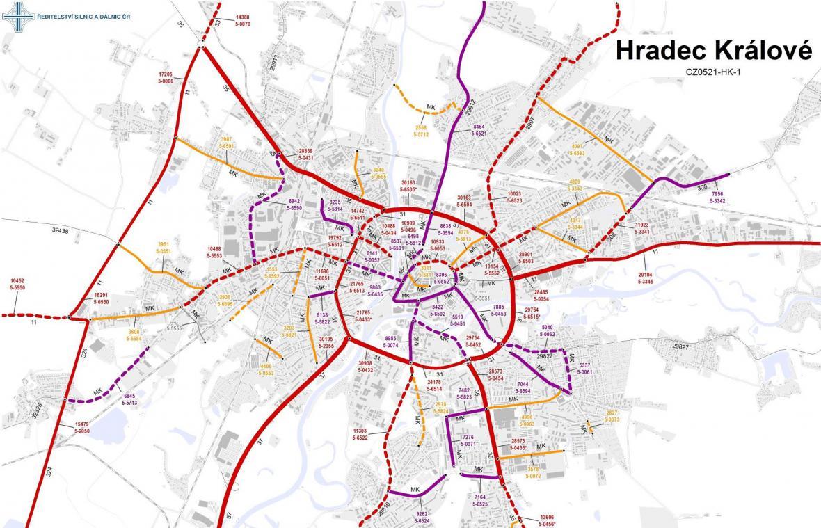 Průměrná dopravní intenzita v Hradci Králové (2016)