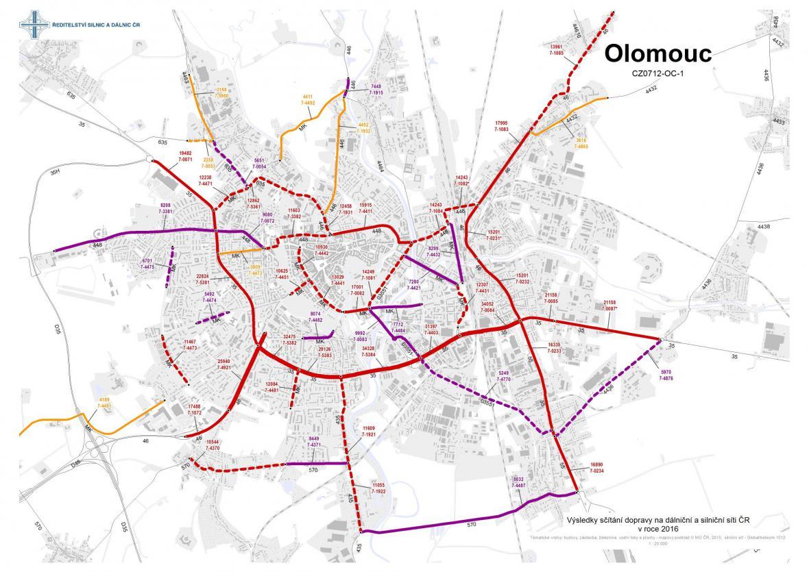 Průměrná dopravní intenzita v Olomouci (2016)