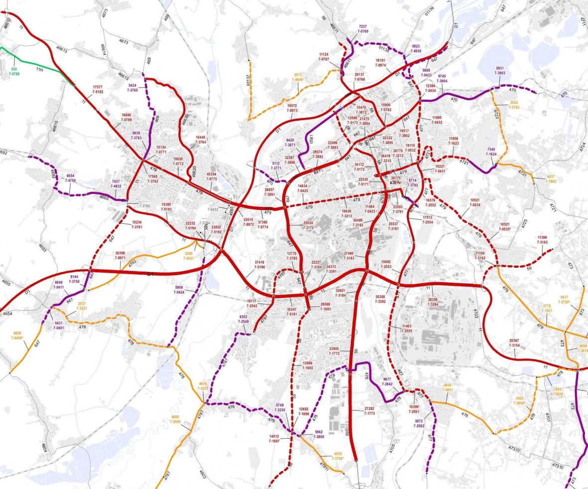 Průměrná dopravní intenzita v Ostravě (2016)