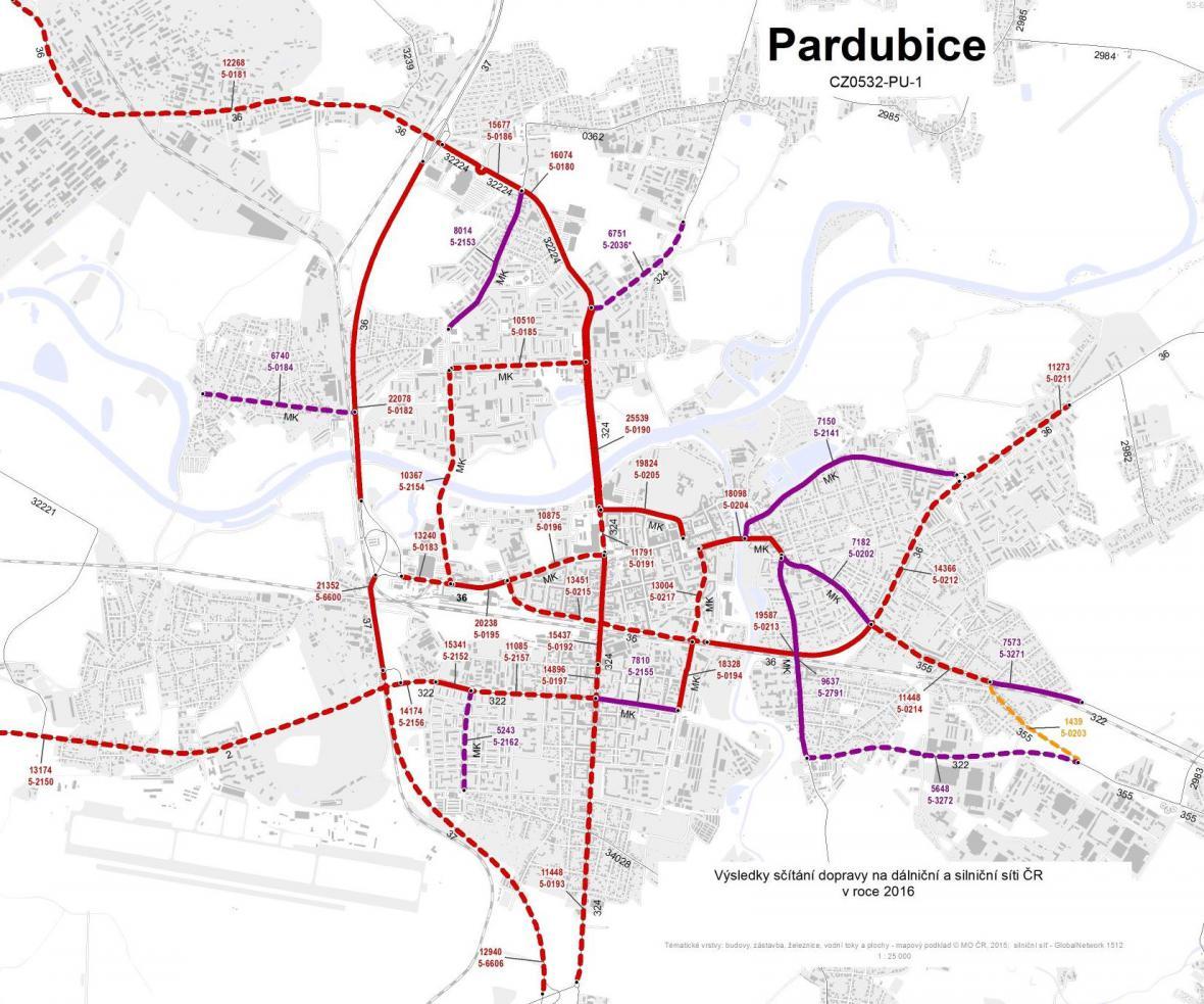 Průměrná dopravní intenzita v Pardubicích (2016)
