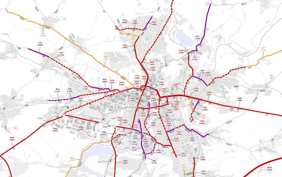Průměrná dopravní intenzita v Plzni (2016)