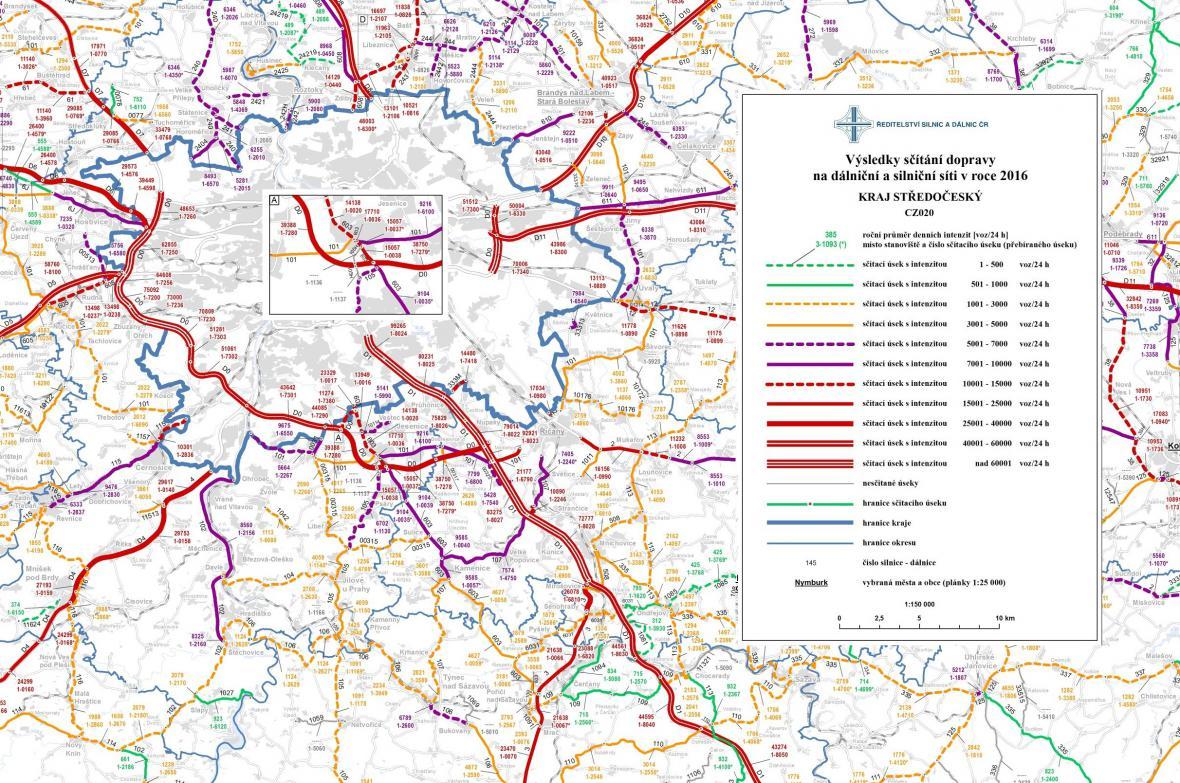 Průměrná dopravní intenzita ve velkých českých městech (2016)