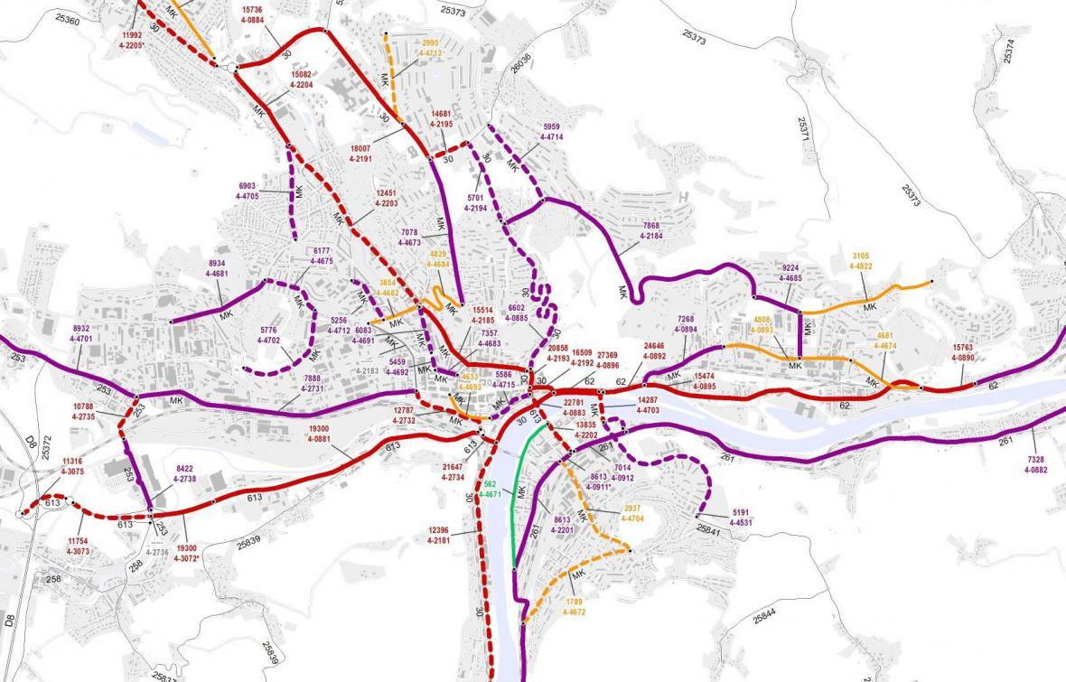 Průměrná dopravní intenzita v Ústí nad Labem (2016)