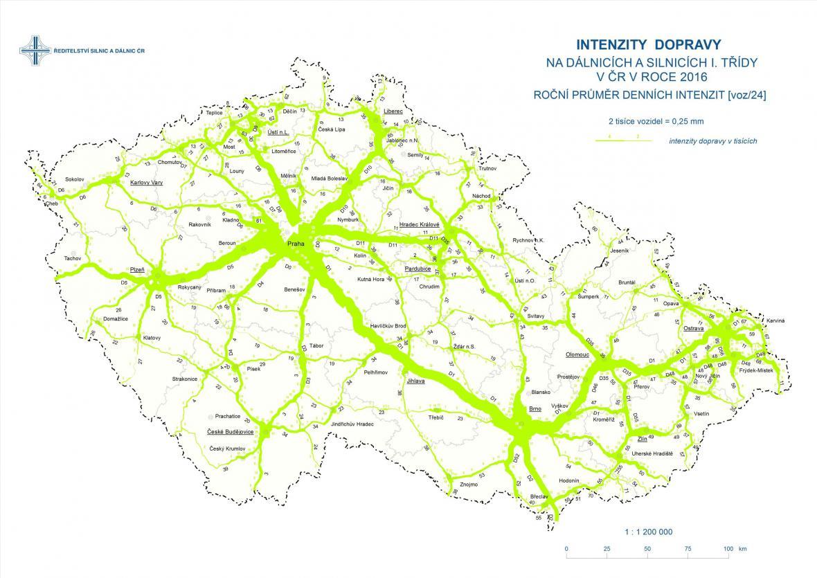 Intenzita dopravy na dálničních a silničních tazích Česka (2016)