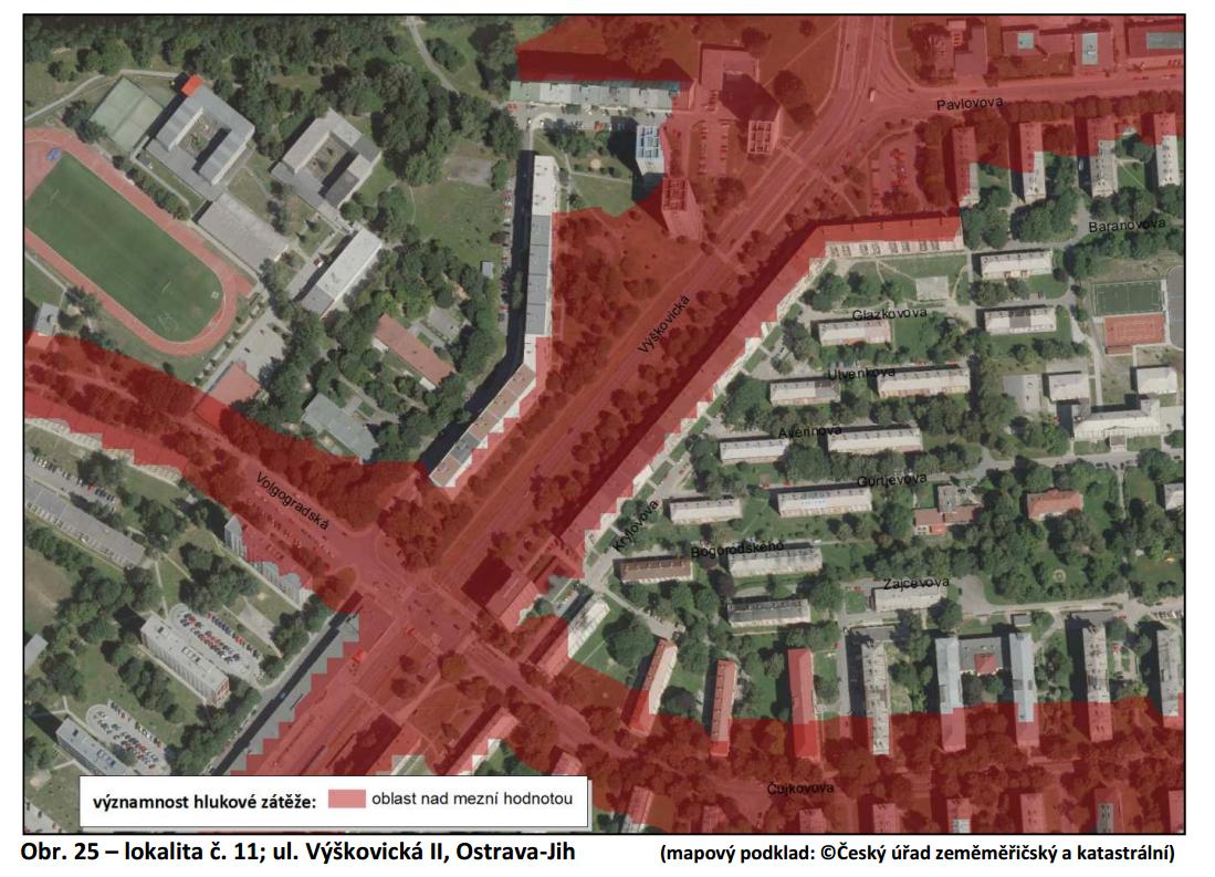 Příklad tzv. hlukové mapy, která byla zpracována pro jednu z ostravských částí