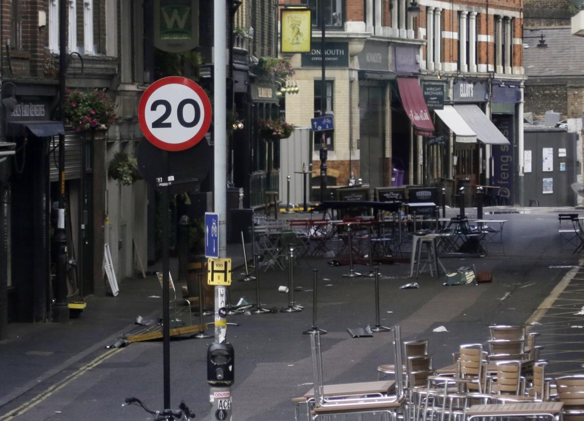 Místo útoku nedaleko Londýnského mostu