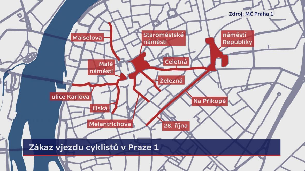 Zákaz vjezdu cyklistů v Praze 1
