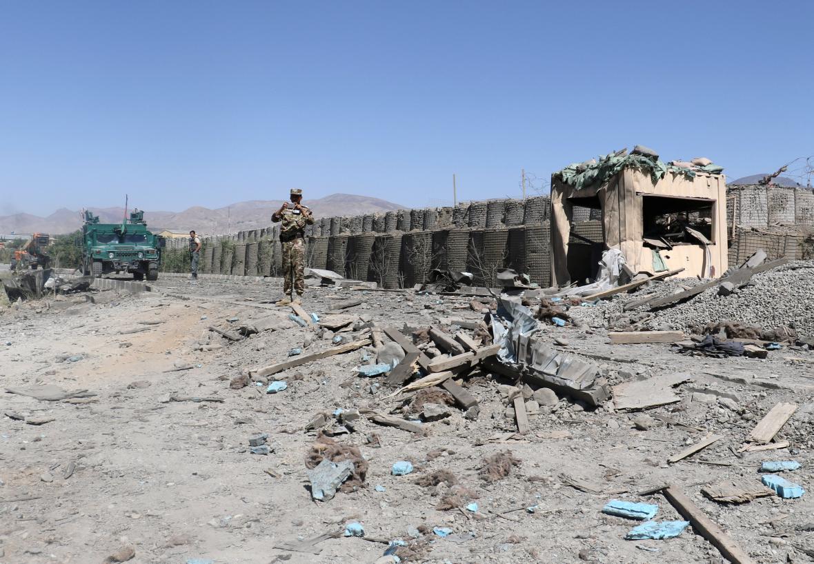 Policejní velitelství v Gardez po bombovém útoku
