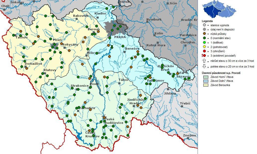 Hladiny řek v povodí Vltavy