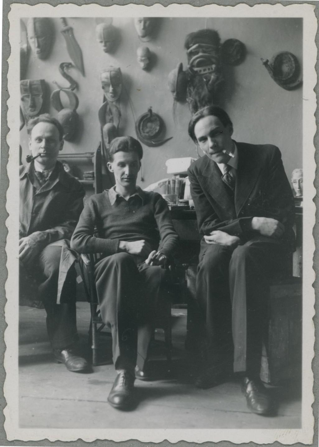 Sochař Alexandr Golovin a básníci Anatolij Steiger a Vladimir Mansvětov (1935)