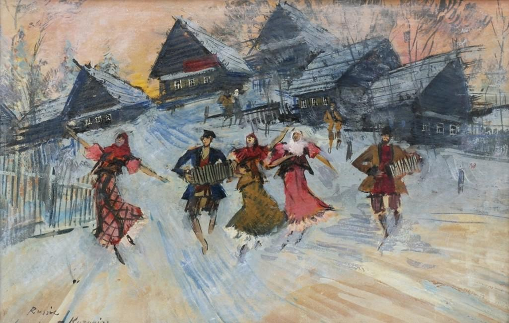 Obraz Konstantina Korovina (1861-1939) Ruský tanec (vesnice), 30. léta 20. st.